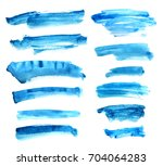 set of blue ink on white... | Shutterstock . vector #704064283