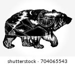 bear double exposure tattoo art.... | Shutterstock .eps vector #704065543