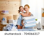 happy family mother housewife... | Shutterstock . vector #704066317