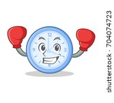 boxing clock character cartoon...   Shutterstock .eps vector #704074723