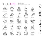 collection of birthday thin... | Shutterstock .eps vector #704074993
