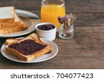 toast bread with homemade...   Shutterstock . vector #704077423