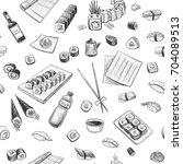 seamless pattern of sushi.... | Shutterstock .eps vector #704089513