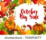 autumn sale poster of october... | Shutterstock .eps vector #704093077
