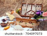 picnic set with fruit  cheese ... | Shutterstock . vector #704097073