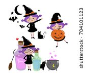 Halloween Witch Set  Cute Vector