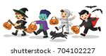 set of happy halloween. funny... | Shutterstock .eps vector #704102227