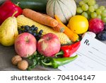 healthy lifestyle concept with...   Shutterstock . vector #704104147