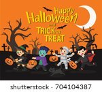 happy halloween. children... | Shutterstock .eps vector #704104387