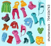winter clothing set consisting... | Shutterstock .eps vector #704106763