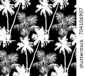 seamless monochrome tropical... | Shutterstock .eps vector #704106907