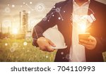 engineering man with safety... | Shutterstock . vector #704110993