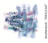 watercolor cactus. design... | Shutterstock . vector #704111167