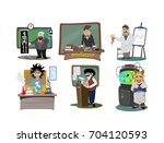 set of professors near the... | Shutterstock .eps vector #704120593