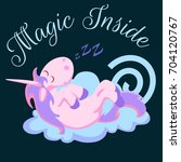 cute dreaming unicorn with horn ... | Shutterstock .eps vector #704120767