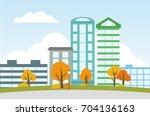 city landscape with autumn...   Shutterstock .eps vector #704136163
