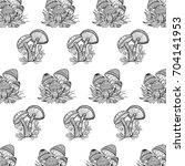 hand drawn mushroom    Shutterstock . vector #704141953