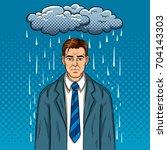 man with bad mood pop art retro ...   Shutterstock .eps vector #704143303