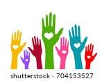 hands vector illustration on...   Shutterstock .eps vector #704153527