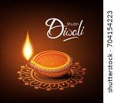 beautiful diwali greeting card... | Shutterstock .eps vector #704154223