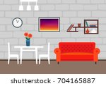 interior of modern living room... | Shutterstock .eps vector #704165887