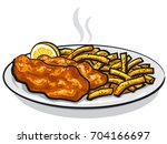 illustration of battered fish... | Shutterstock .eps vector #704166697