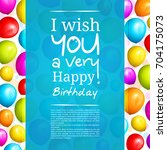 colorful birthday balloons on... | Shutterstock .eps vector #704175073
