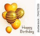 bunch of birthday yellow... | Shutterstock .eps vector #704175103
