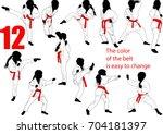 Twelve Baby Karate Silhouettes...