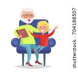 elderly man in glasses reading... | Shutterstock .eps vector #704188507