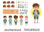 vector cartoon style school boy ...   Shutterstock .eps vector #704189623