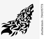 tribal wolf head tattoo.... | Shutterstock .eps vector #704195773