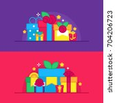 set of gift boxes vector | Shutterstock .eps vector #704206723
