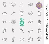 food and drink line icon set | Shutterstock .eps vector #704220973