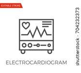 electrocardiogram thin line...   Shutterstock .eps vector #704232373