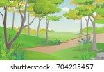 pathway in beautiful green park ...   Shutterstock .eps vector #704235457