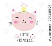 cute cat illustration vector... | Shutterstock .eps vector #704235907