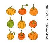 set of hand drawn pumpkins.... | Shutterstock .eps vector #704238487