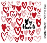 set of hand drawn pink hearts... | Shutterstock .eps vector #704241553