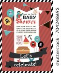 baby shower invitation card... | Shutterstock .eps vector #704248693