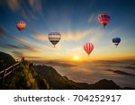 colorful hot air balloon flying ... | Shutterstock . vector #704252917