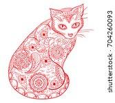 cat. design zentangle. hand...   Shutterstock . vector #704260093
