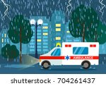 the ambulance rides to call to... | Shutterstock .eps vector #704261437