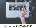 top view of businessman typing... | Shutterstock . vector #704262343