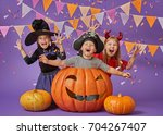 happy brother and two sisters... | Shutterstock . vector #704267407