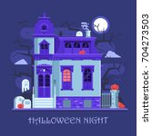 halloween ghost mansion scene... | Shutterstock .eps vector #704273503