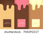 flowing ice cream on wafer... | Shutterstock .eps vector #704292217