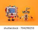 robots friends ready for... | Shutterstock . vector #704298253
