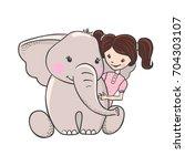 cute hand drawn cartoon... | Shutterstock .eps vector #704303107