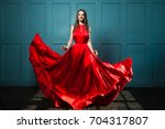 glamorous woman in fashionable... | Shutterstock . vector #704317807
